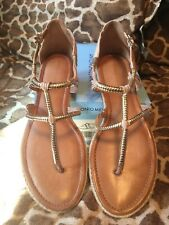 59d5bf3df1f56 Antonio Melani Tallonn Nude Beige Leather with Soft Gold Thong Sandal 9.5M  RV 80