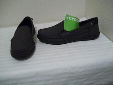 NEW WOMENS CROCS WALU LOAFERS ESPRESSO BLACK CANVAS SLIP ON SHOES SZ 6 $65