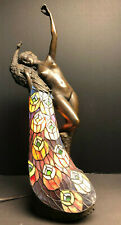 Signed Vintage Bronze Peacock Nude Lady Lamp - Art Nouveau
