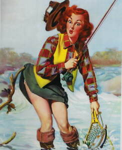 Redhaired Woman Fishing pin up vintage art