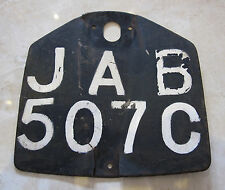 1960s Classic BRITISH MOTORCYCLE NUMBER PLATE Metal registration license JAB507C
