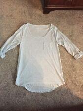 BNWOT Linen Blend Fine Jersey Pale Blue Marl Top Roll Back Sleeve Size 8
