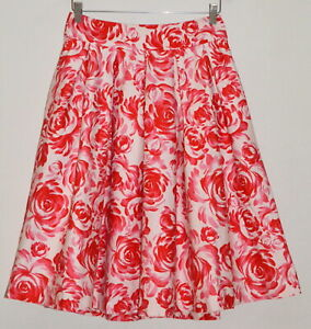 REVIEW DREAMY ROSE WHITE RED & PINK FLORAL PLEATED FIT & FLARE SKIRT 10 12