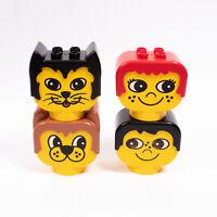 Lego Duplo - 4 Brick Heads -  Cat Dog Man Woman