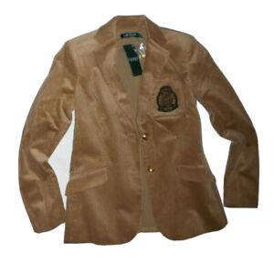 Ralph Lauren womens Camel Corduroy Blazer Jacket w/ Crown Crest size 0  rt $195