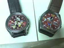 New listing Vintage Estate Find, 2 Seiko Mickey Mouse Watches On New Leather Bands,Running