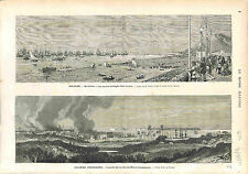 Espana Spain Barcelona Port Carlismo / Incendie Fire Le Moule Guadeloupe 1874