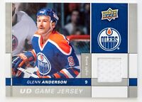GLENN ANDERSON GAME USED JERSEY CARD UPPER DECK GAME JERSEY EDMONTON OILERS WOW