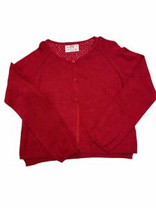 Zara Girls Knitwear Size 7-8 yrs 128 cm Red Button Down Sweater Cardigan