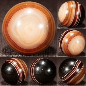 """EPIC 7/8"""" HAND FACETED Banded AGATE Shooter ANTIQUE Marble Mint hawkeyespicks sg"""