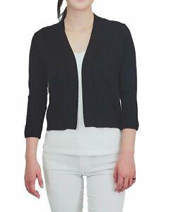 YEMAK Women's Cropped Bolero 3/4 Sleeve Classic Open Front Cardigan MK3558(S-XL)