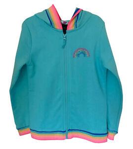 Cynthia Rowley Girls Rainbow Zipped Hooded Jacket Blue Cardigan 3 - 8 Years