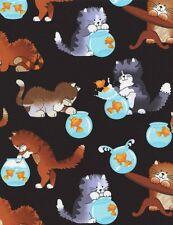 Timeless Treasures Fabric - Black Cats & Fishbowls- 100% Cotton cat