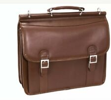 McKlein Halsted Laptop Bag Brown Cowhide Leather Shoulder Briefcase Bag