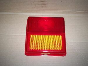 New Rubbolite 5087  Model 201 203 301 303 Square Red Stop Tail  Lens + Reflector
