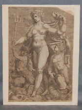 Old Master Print  Perino del Vaga after. Thetis with two Tritons Engraving
