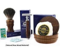 Double Edge Safety Razor Blade, Pure Badger Hair Brush, Soap Bowl Shaving Set