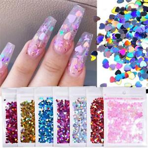 Art Love Heart Nail Sequins 3D Nail Decoration Glitter Flakes Holographic Laser