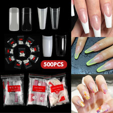 500X French Acrylic False Nail Tips Stiletto Almond Coffin Natural Clear UV Gel