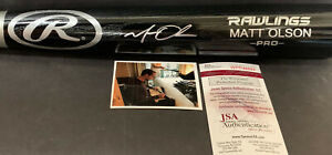 Matt Olson Oakland A's JSA WITNESS COA Autographed Signed Bat Black