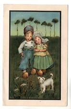 Boy Girl Dog - Art Postcard 1920 / Children