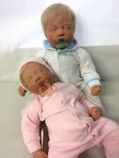 Lee Middleton Baby Dolls With Pacifiers Sleeping Boy and Girl Twins? Reborn Baby