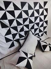 Black White Beautiful King Duvet Cover Set Patchwork 100%Cotton Bedspread #113