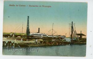 Postcard 1918 Nicaragua Corinto Muelle Dock Requerdos Posted to Paris France