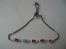 "Multi color zircon sterling silver 2.5"" stainless steel bolo bracelet DAD323"