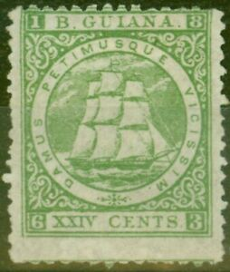 British Guiana 1863 24c Yellow Green SG79 P.12.5 Fine Lightly Mtd Mint Ex-Sir...