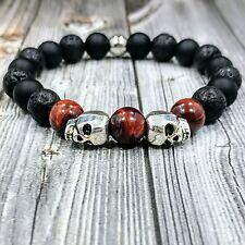 "8""L HIP 10mm Onyx+Tigers Eye+Lava Gemstone Beaded Silver Skulls Unisex Bracelet"