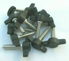 """1/4-20"""" X 1"""" Thumb Screws with Tee Wing Knob. Delrin Head, SS. 4 per package"""