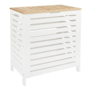 White/Oak Wooden Laundry Clothes Basket Hamper Bin Storage Lid Bathroom Bedroom
