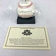 NEW Ted William Baseball W/ Record History, Picture, Replica Autograph & Stand
