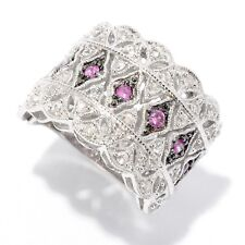 Sterling Silver 0.95ctw Pink Sapphire & White Zircon Broad Band Ring, Size 7