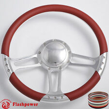 14'' Billet Steering Wheels Burgundy Half Wrap Oldsmobile Cutlass 88 98 Toronado