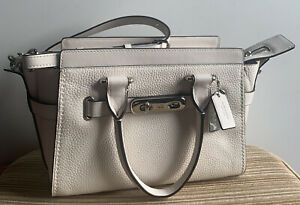 NWT Coach Chalk Pebble Swagger 27 Leather Satchel Bag