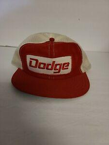 Vintage Dodge Trucker Hat Baseball Cap Mesh Red White Snapback Horizon Made USA