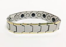 NEW GUNMETAL TUNGSTEN+GOLD CARBIDE GERMANIUM ENERGY MAGNETIC MEN'S BRACELET