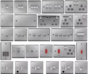Grey Inserts: BG Nexus Brushed Steel Full Range Light Switches & Sockets+USB