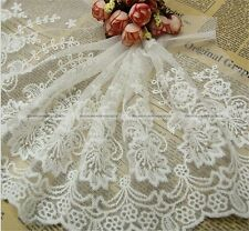 "Nice  Lace Trim White Retro Embroidery Tulle Fabric Wedding 9.1"" width  S7"