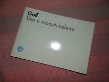 Volkswagen GOLF 1987 - Manuale d'uso e manutenzione.