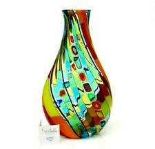 Signed Exceptional Murano Ballarin Multi Coloured Millefiori Pezzato Studio Vase