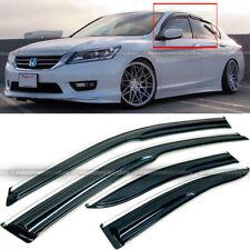 Fit 13-17 Honda Accord 4 Door JDM Mugen Style 3D Wavy Chrome Trim Window Visor