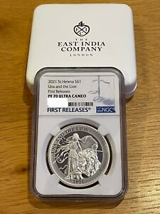 The 2021 Una & The Lion Silver Proof 1oz Coin PF70 Ultra Cameo FR