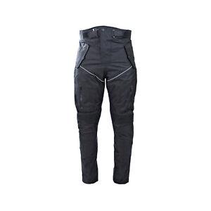 Men's Cordura Textile Black Waterproof Motorbike Motorcycle Over Trousers Pants