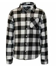 Tractor Girls' Flannel Shirt, Black/Ivory, Size L(14/16)