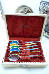 Vintage Cased Set Six HMSS Gilt & Enamel Coffee Spoons : Birmingham 1959