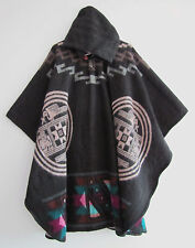 Llama Poncho with Hood Wool Brown Coat Unisex Cape Indigenous Native - Ecuador