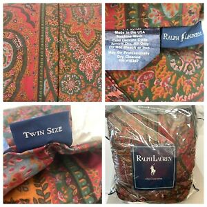 Ralph Lauren Comforter Twin Red Green Paisley Quilted Vintage NWT made in USA LB